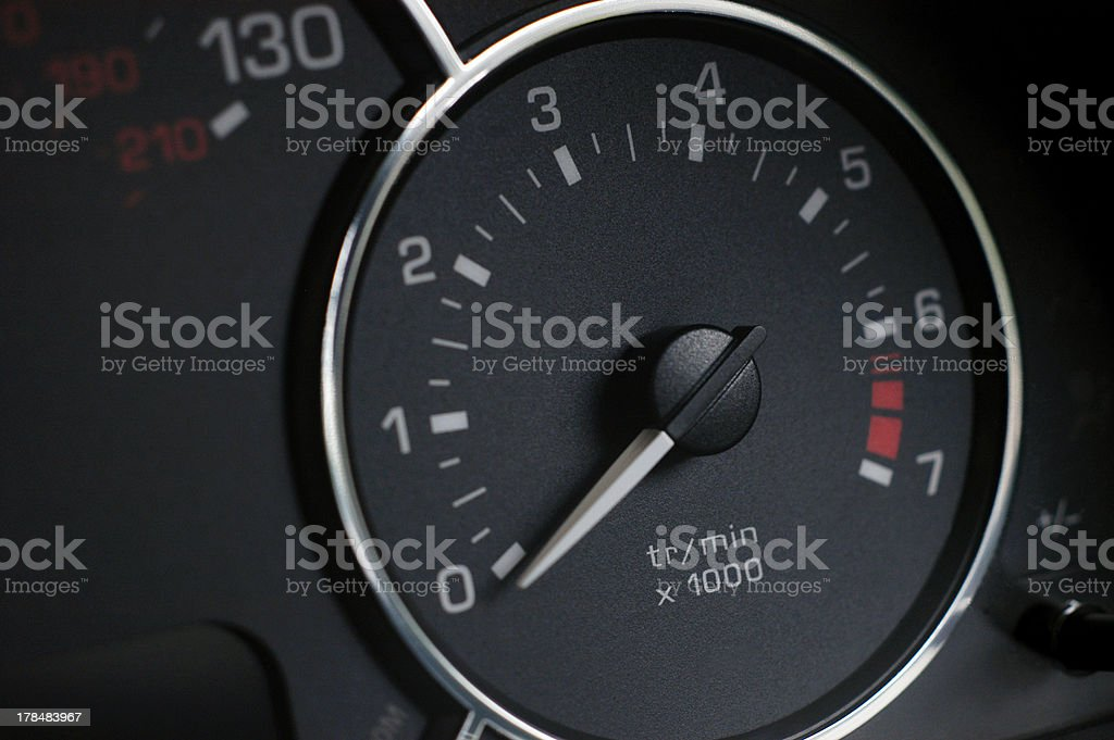 Dial and needle of Rev counter on new car royalty-free stock photo