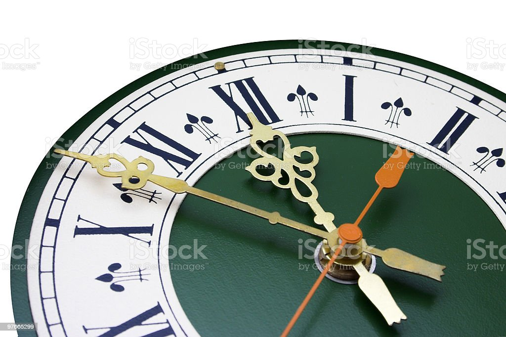 dial of analog watch clock stock photo