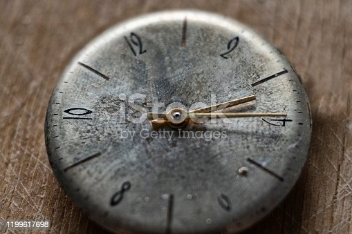 671883446 istock photo Dial of old vintage watches, clock hands 1199617698