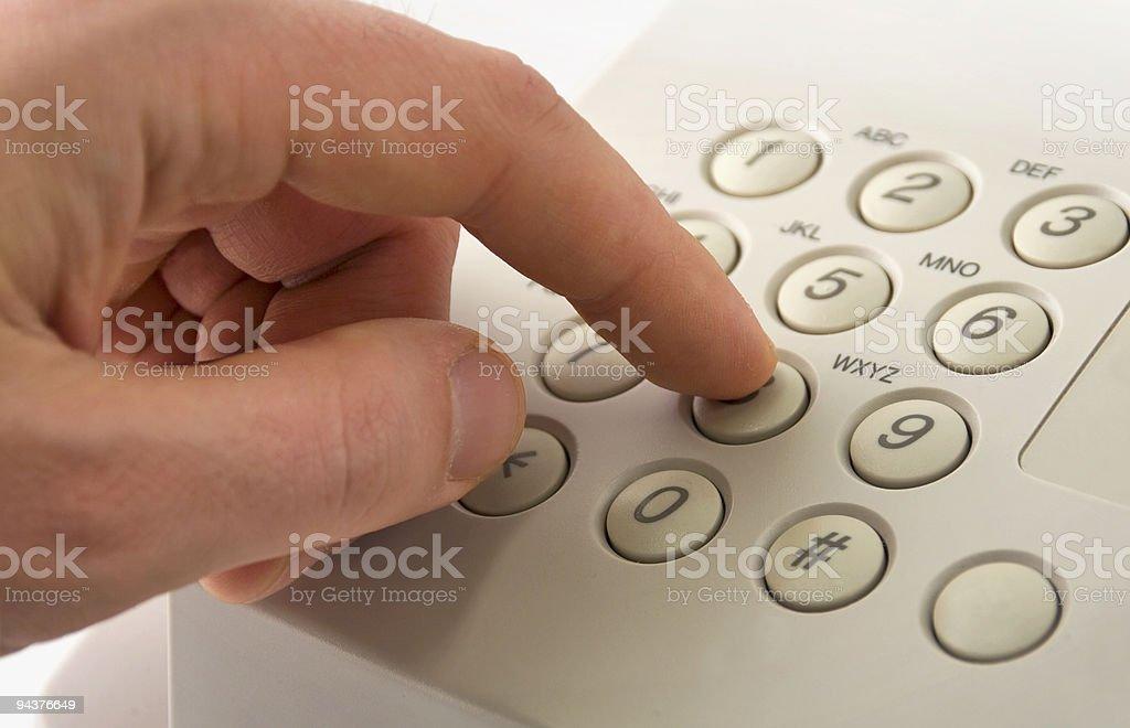 Dialing eight stock photo