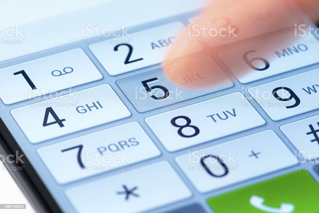 Dialing keyboard of a smart phone stock photo