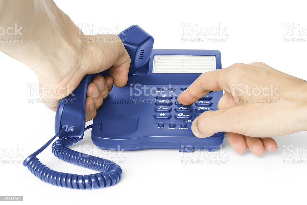 dialing. phone with hands royalty-free stock photo