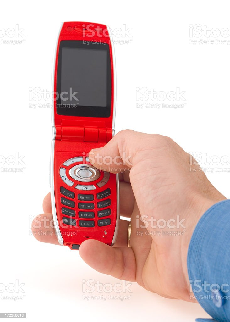 Dialing red mobile phone (isolation path for display included) royalty-free stock photo
