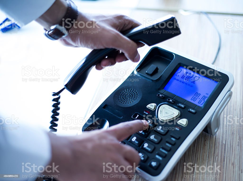 Dialing telephone keypad ,Making a call stock photo