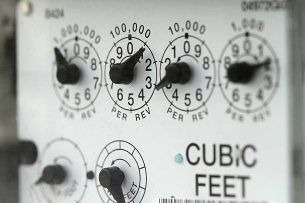 Dials on a Natural Gas Meter stock photo