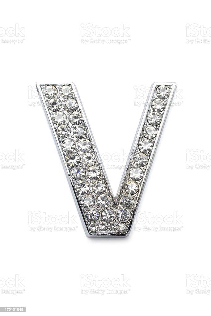 Diamond alfabeto V - foto de stock
