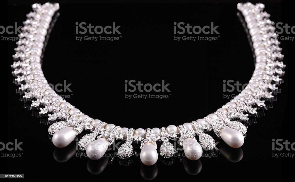 Diamond & Pearl Necklace royalty-free stock photo
