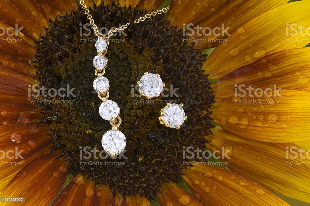 Diamond and gold eternity necklace with earring set royalty-free stock photo