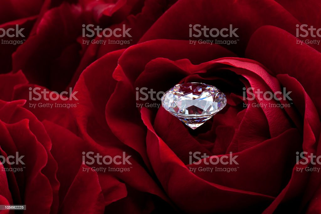 Diamond and red rose royalty-free stock photo