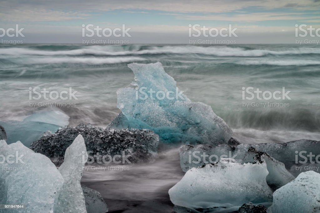 Diamond beach in Iceland stock photo