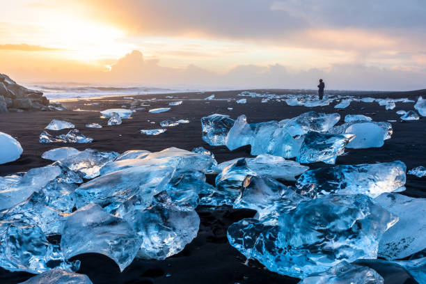 Diamond Beach in Iceland with blue icebergs melting on the black sand and ice glistening with sunrise sun light, tourist looking at beautiful arctic nature scenery, Icelandic South coast, Jokulsarlon stock photo