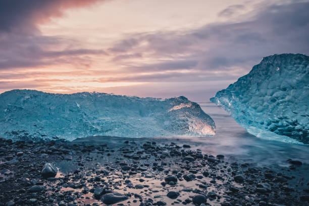 Diamond Beach in southeast Iceland stock photo