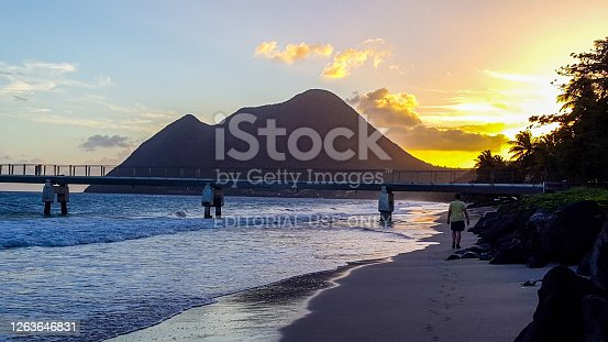 In February 2015, people could enjoy a beautiful sunset on Diamant beach in Martinique.
