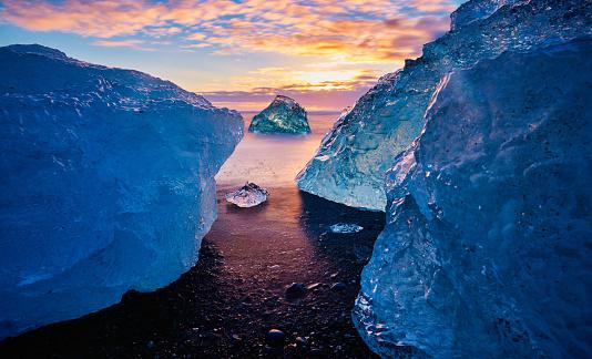 Diamond beach in Iceland, sunset time