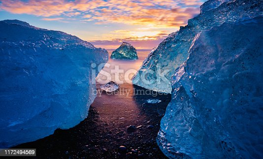 Diamond beach in Iceland, sunset time