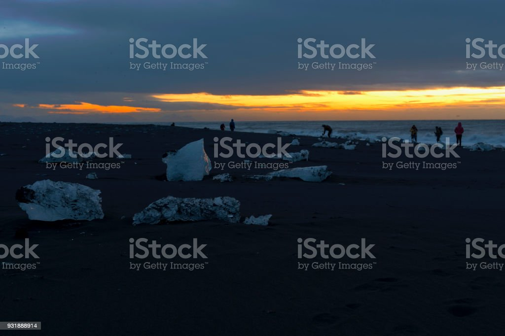 Diamond black sand beach Iceland in winter stock photo