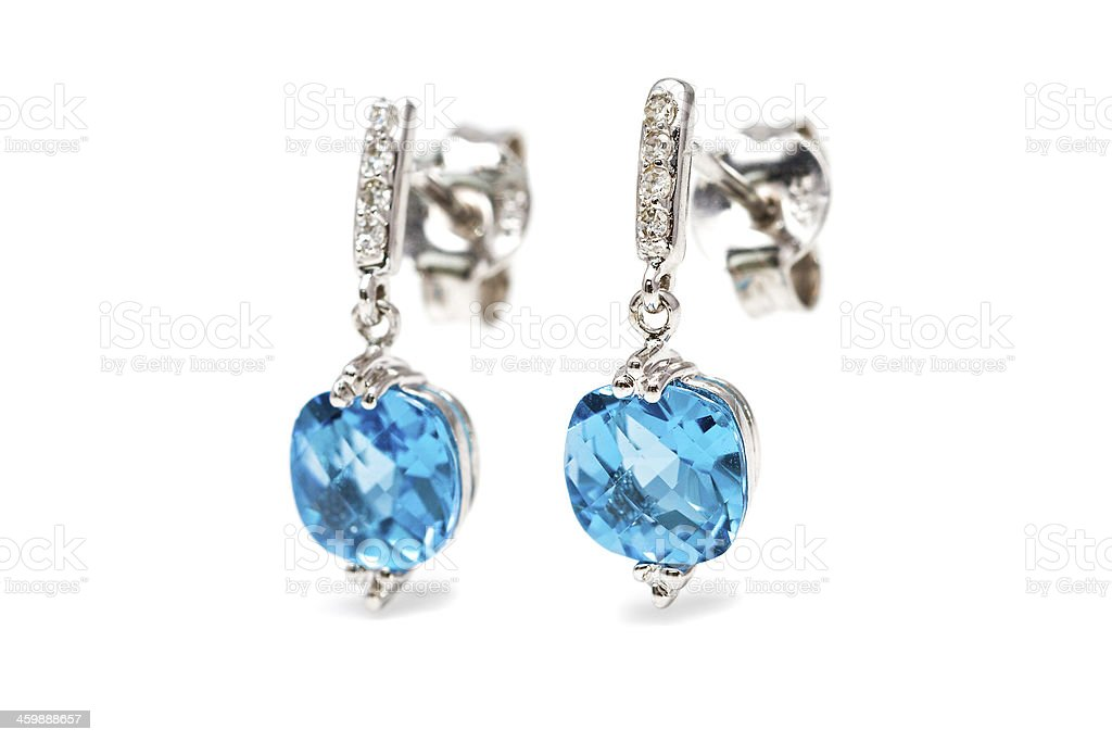 Diamond blue earrings stock photo