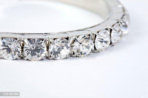 Close up of diamond bracelet.