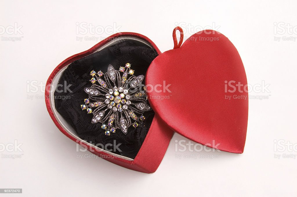 Diamond Brooch In Heart Box royalty-free stock photo