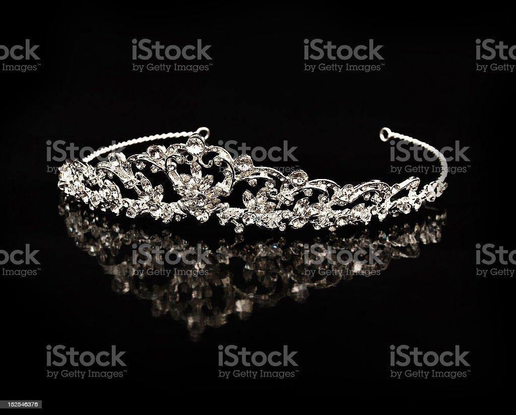 Diamond diadem on a black background with reflexion royalty-free stock photo