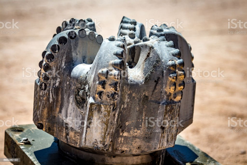 Diamond drilling bit on the rig for shale oil formations stock photo