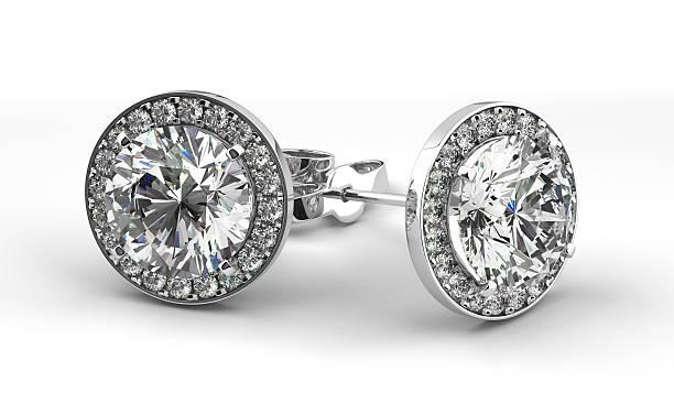 diamant-ohrringe - ohrringe stock-fotos und bilder