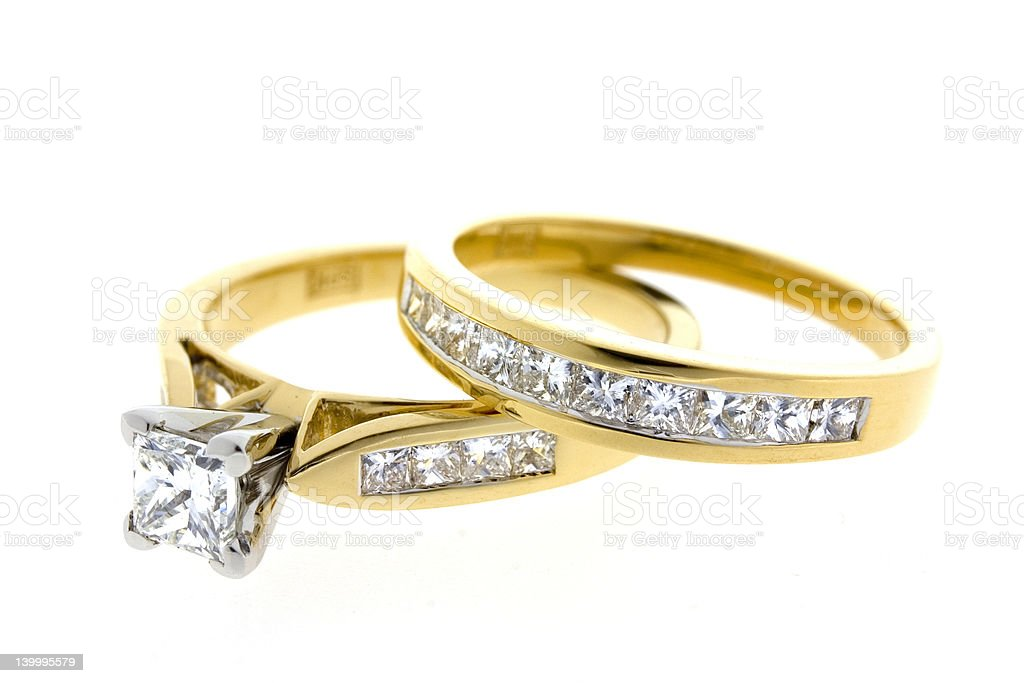 Diamond Engagement and wedding ring stock photo