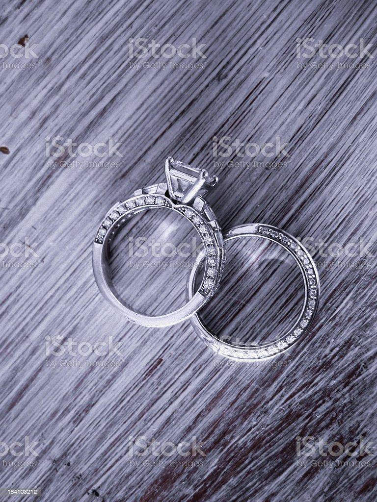 Diamond Engagement Ring and Platinum Wedding Band stock photo