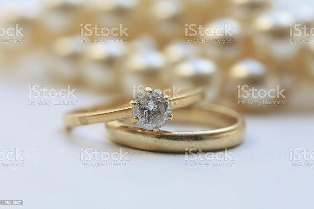 Diamond engagement ring and wedding band royalty-free stock photo