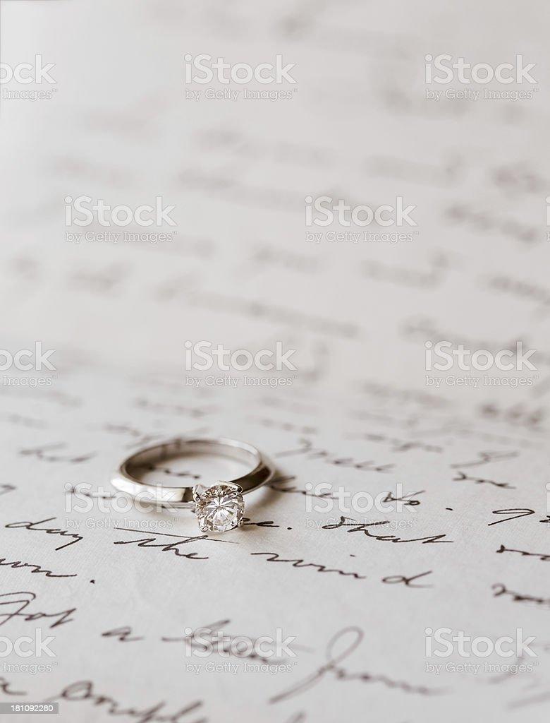 Diamond Engagement Ring Vertical royalty-free stock photo