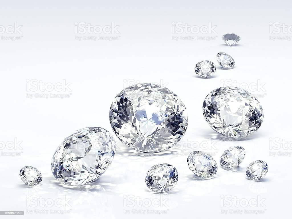 Diamond for engagement rings. Beautiful round shape emerald pictures. stock photo