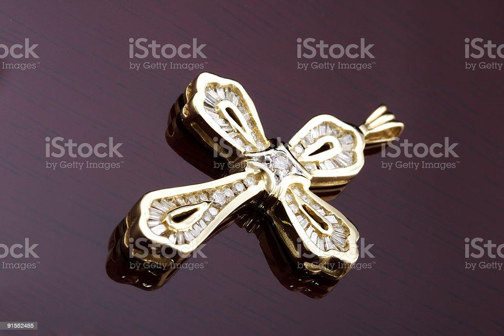 Diamond Gold Cross Pendant royalty-free stock photo