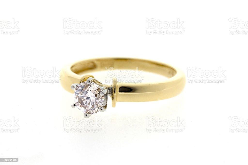Diamond Gold Enagement Ring stock photo
