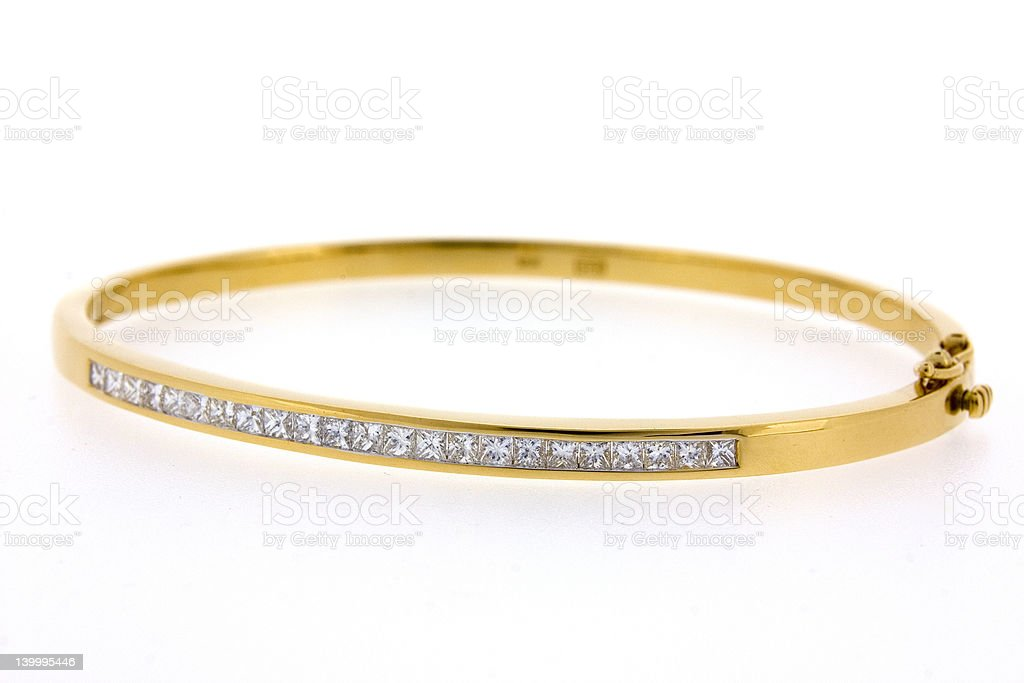 Diamond Gold Hammerset Bracelet stock photo