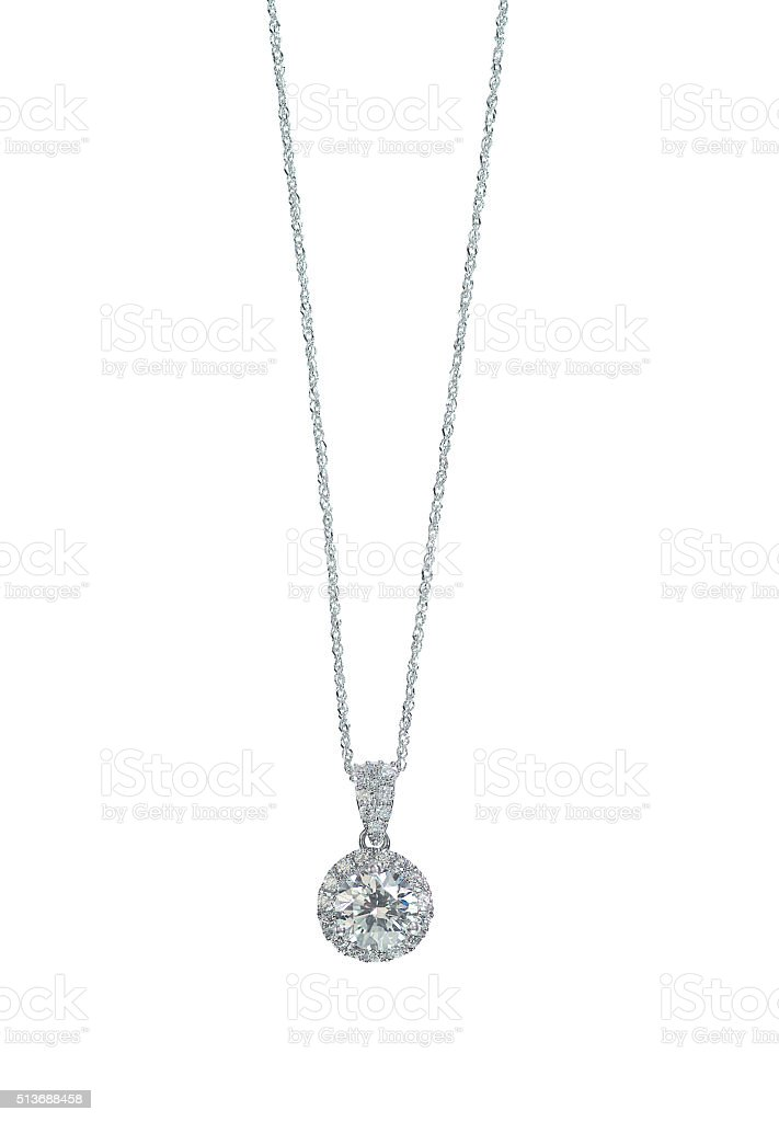 Diamond halo Pendant necklace on a chain stock photo