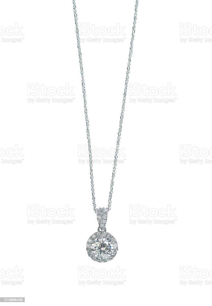 Diamante auréola pingentes de colar em uma cadeia - foto de acervo