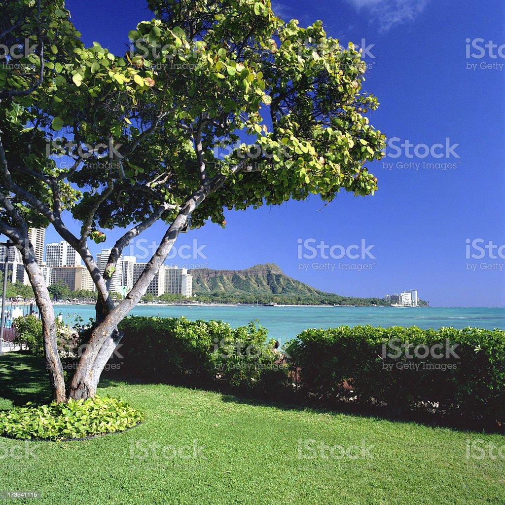 Diamond Head and Waikiki Beach royalty-free stock photo