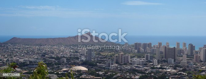 Diamond Head Crater in Honolulu, Hawaii on the island of Oahu. With the UH Manoa is in the foreground.