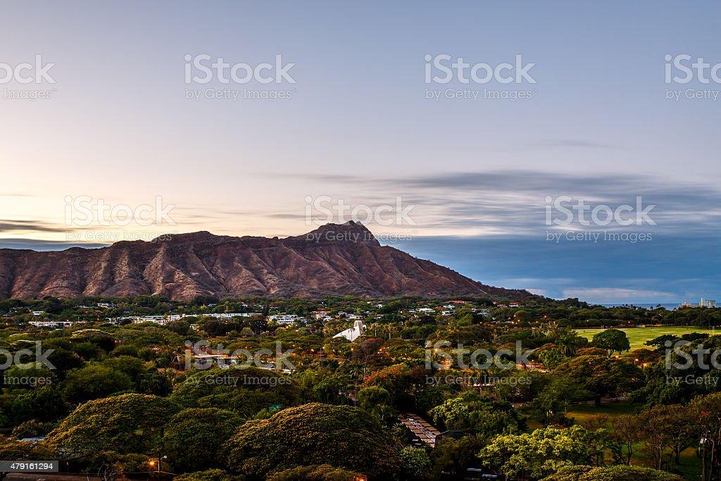 Diamond Head Crater in Oahua, Hawaii stock photo