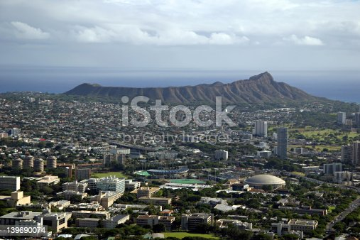 Diamond Head Crater in Honolulu, Hawaii on the island of Oahu.  The University of Hawaii is in the foreground.