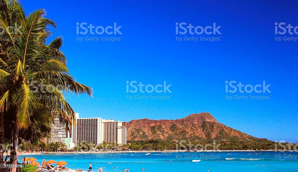 Diamond Head Honolulu Pacific ocean scenic on Oahu Hawaii stock photo
