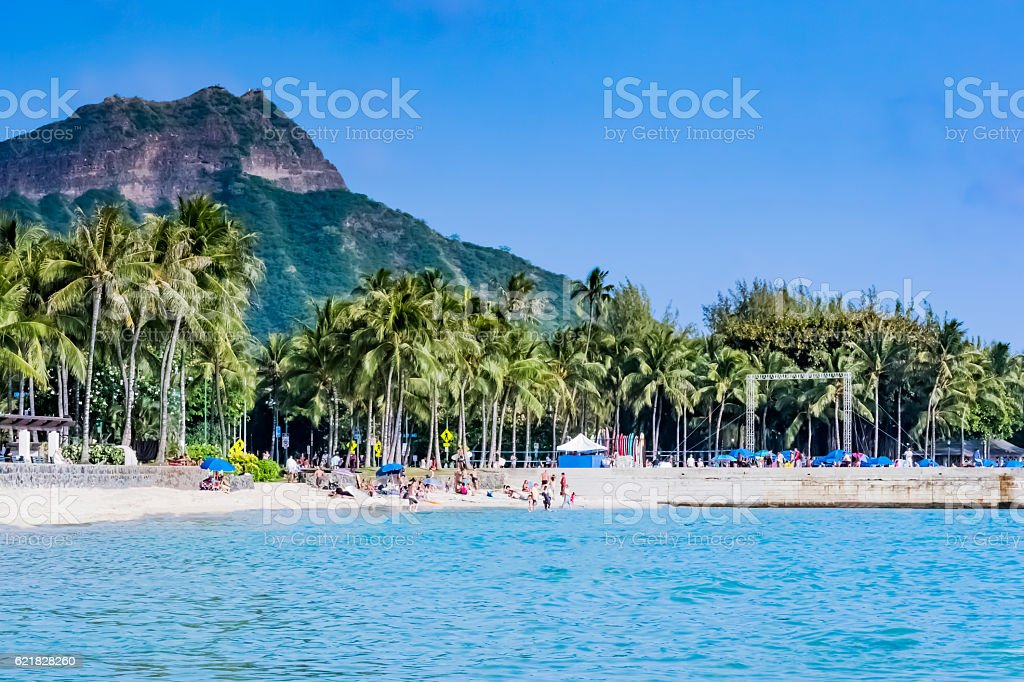 Diamond Head in Waikiki beach stock photo