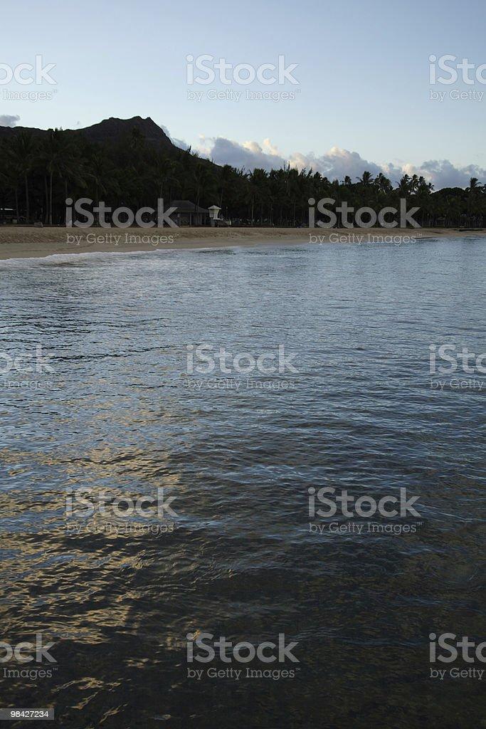 Diamond Head Sunrise Water royalty-free stock photo