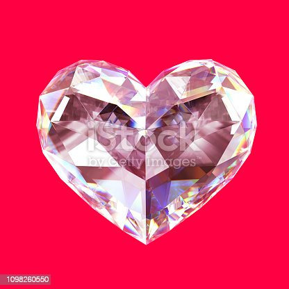 Isolated pink diamond heart on pink  background.