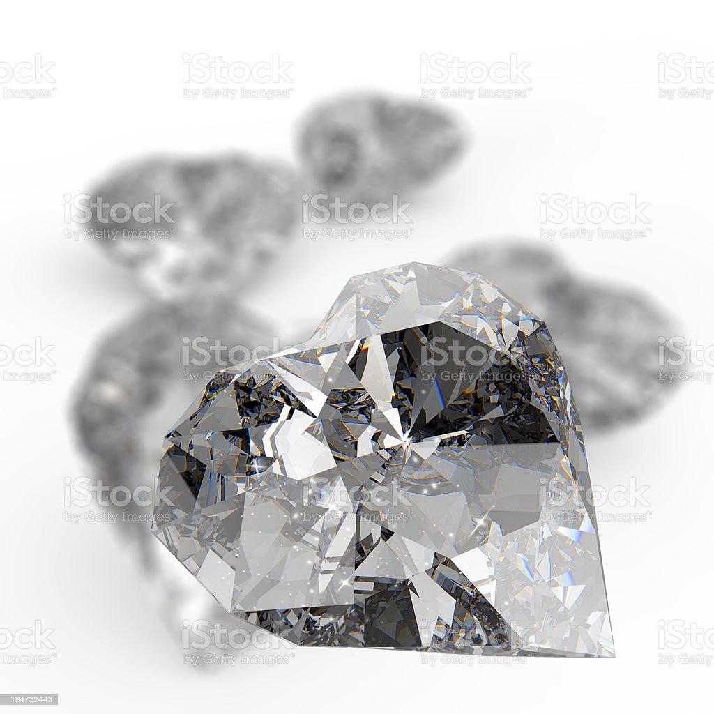 diamond heart shape on white surface royalty-free stock photo