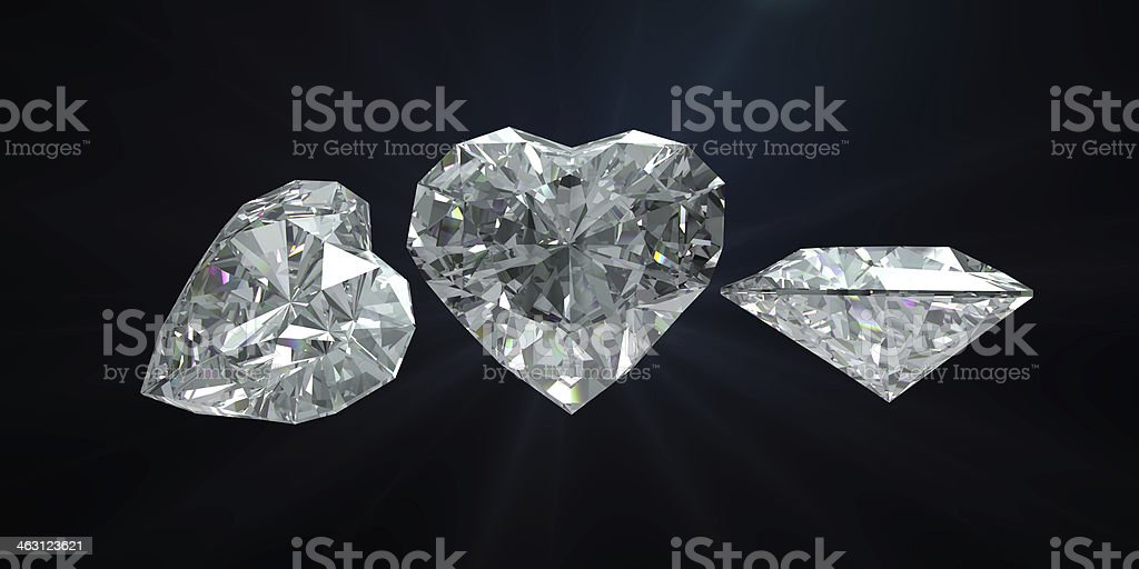 Diamond heart shape with clipping path royalty-free stock photo