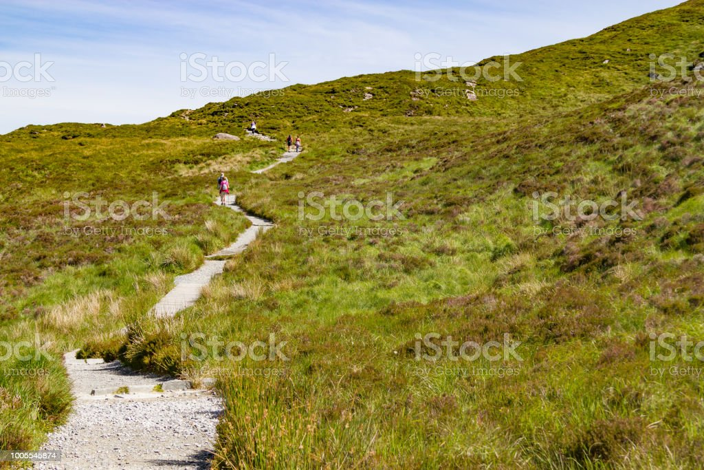 Diamond Hill trail in Letterfrack stock photo