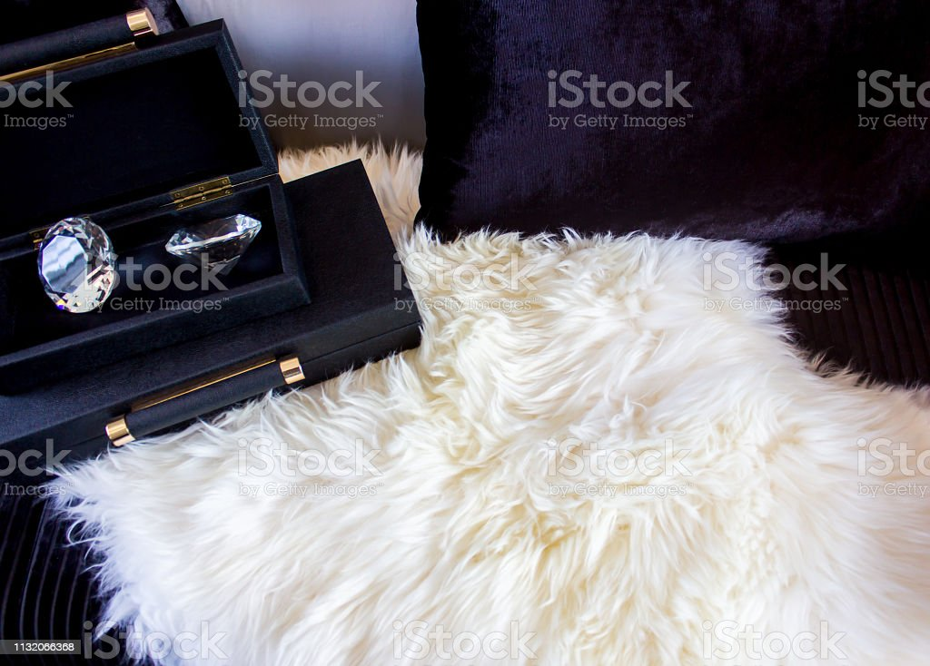 Diamond in a box on a luxury seat with a pillow,Copy space