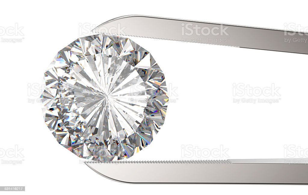 Diamond in tweezers stock photo