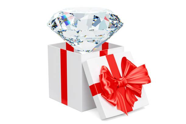 diamant in geschenk-box, geschenk-konzept. 3d-rendering isoliert auf weißem hintergrund - diamanten kaufen stock-fotos und bilder